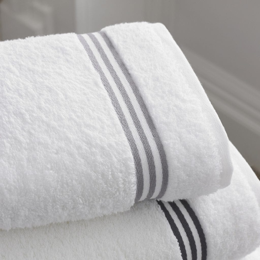 bathroom towels neatly stacked