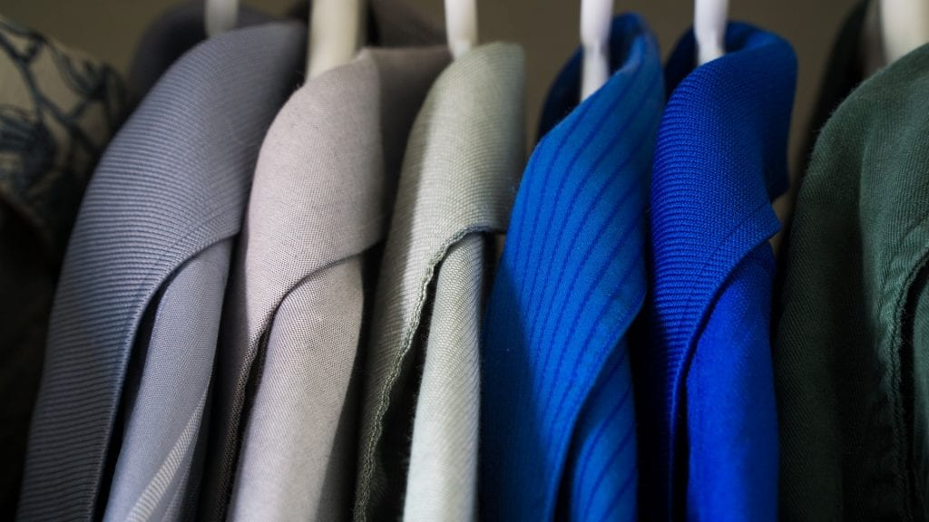 clothing hanging in closet